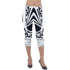 Tribal Sugar Skull Lightweight Velour Capri Leggings