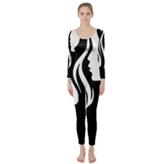 Long Haired Sexy Woman  Long Sleeve Catsuit by sherylchapmanphotography