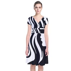 Long Haired Sexy Woman  Short Sleeve Front Wrap Dress