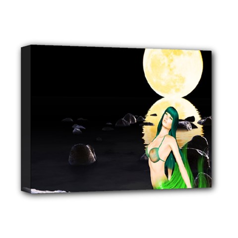 Sexy Mermaid In The Moonlight Deluxe Canvas 16  X 12