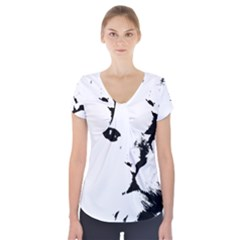 Cat Short Sleeve Front Detail Top