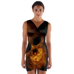 Skull Wrap Front Bodycon Dress