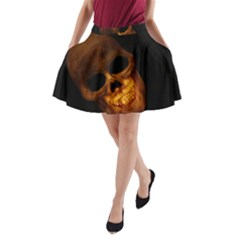 Skull A Line Pocket Skirt
