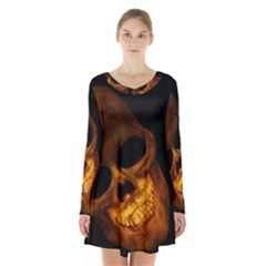 Skull Long Sleeve Velvet V Neck Dress