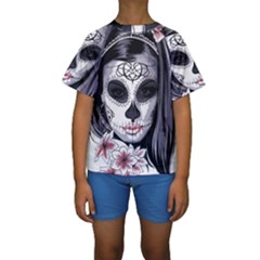Sugar Skull Kids  Short Sleeve Swimwear