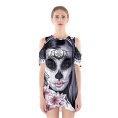 Sugar Skull Shoulder Cutout One Piece