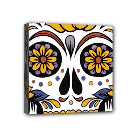 Sugar Skull Mini Canvas 4  X 4