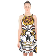 Sugar Skull Halter Collar Waist Tie Chiffon Dress