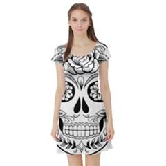 Sugar Skull Short Sleeve Skater Dress