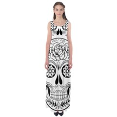 Sugar Skull Empire Waist Maxi Dress