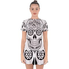 Sugar Skull Drop Hem Mini Chiffon Dress