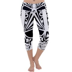 Tribal Sugar Skull Capri Yoga Leggings