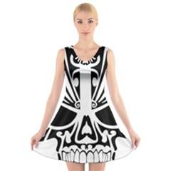 Tribal Sugar Skull V Neck Sleeveless Dress