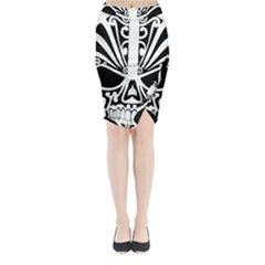 Tribal Sugar Skull Midi Wrap Pencil Skirt