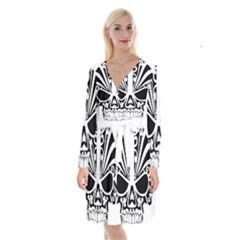 Tribal Sugar Skull Long Sleeve Velvet Front Wrap Dress