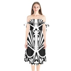 Tribal Sugar Skull Shoulder Tie Bardot Midi Dress
