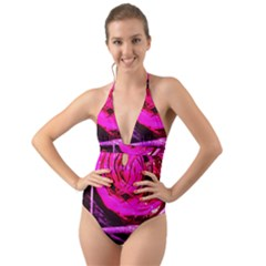 Calligraphy 2 Halter Cut Out One Piece Swimsuit