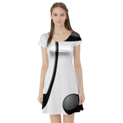 Music Note Short Sleeve Skater Dress