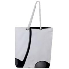 Music Note Full Print Rope Handle Tote (large)