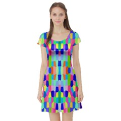 Artwork By Patrick Colorful 35 Short Sleeve Skater Dress