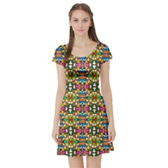Artwork By Patrick Colorful 36 Short Sleeve Skater Dress