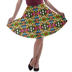 Artwork By Patrick Colorful 36 A Line Skater Skirt