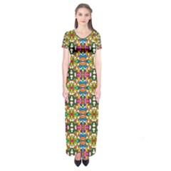Artwork By Patrick Colorful 36 Short Sleeve Maxi Dress