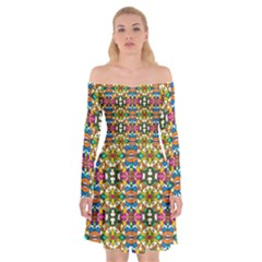 Artwork By Patrick Colorful 36 Off Shoulder Skater Dress