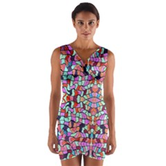 Artwork By Patrick Colorful 38 Wrap Front Bodycon Dress