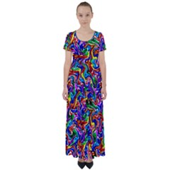 Artwork By Patrick Colorful 39 High Waist Short Sleeve Maxi Dress