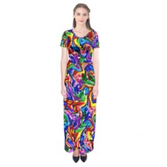 Artwork By Patrick Colorful 39 Short Sleeve Maxi Dress