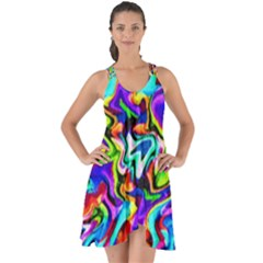 Artwork By Patrick Colorful 40 Show Some Back Chiffon Dress