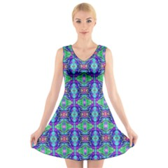 Artwork By Patrick Colorful 41 V Neck Sleeveless Dress