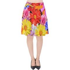 Assorted Petals Velvet High Waist Skirt by girleyjanedesigns