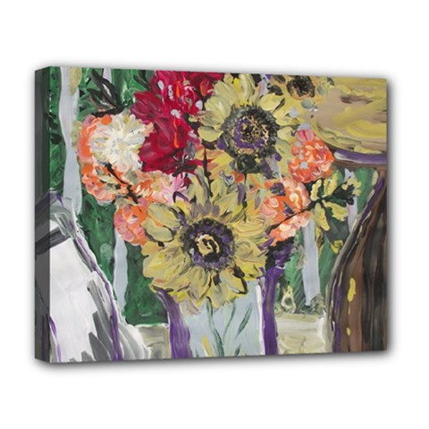 Sunflowers And Lamp Deluxe Canvas 20  X 16   by bestdesignintheworld
