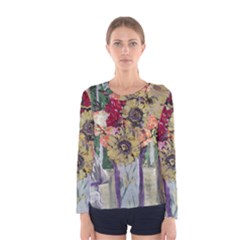 Sunflowers And Lamp Women s Long Sleeve Tee