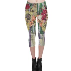 Sunflowers And Lamp Capri Leggings