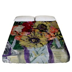 Sunflowers And Lamp Fitted Sheet (california King Size)