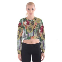 Sunflowers And Lamp Cropped Sweatshirt