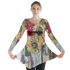 Sunflowers And Lamp Long Sleeve Tunic  by bestdesignintheworld
