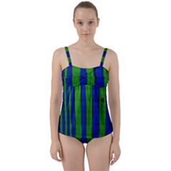 Stripes Twist Front Tankini Set