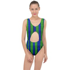 Stripes Center Cut Out Swimsuit