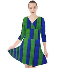 Stripes Quarter Sleeve Front Wrap Dress