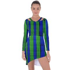 Stripes Asymmetric Cut Out Shift Dress