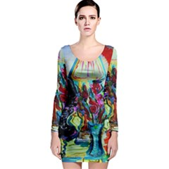 Still Life With Two Lamps Long Sleeve Bodycon Dress