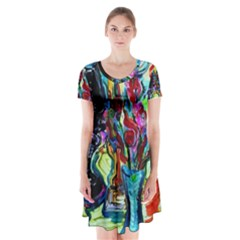 Still Life With Two Lamps Short Sleeve V Neck Flare Dress