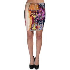 Still Life With Lamps And Flowers Bodycon Skirt
