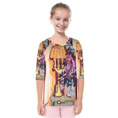 Still Life With Lamps And Flowers Kids  Quarter Sleeve Raglan Tee