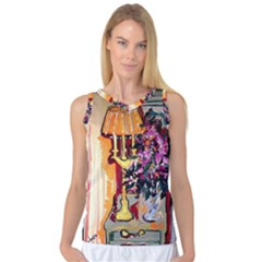 Still Life With Lamps And Flowers Women s Basketball Tank Top