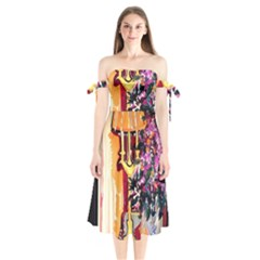 Still Life With Lamps And Flowers Shoulder Tie Bardot Midi Dress